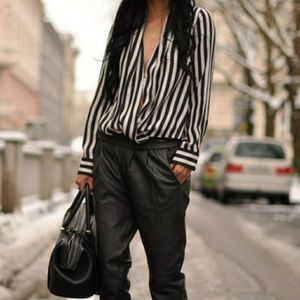 Zara collection black and white striped blouse